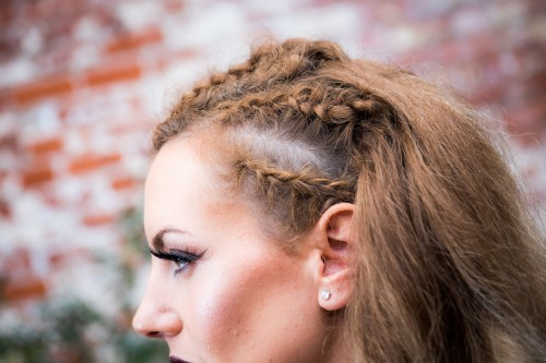 We did some tight cornrow braids in Lesley's hair to add a party vibe.